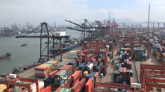 Hong Kong container terminal, main port facilities, industry, Asia, cargo - stock footage