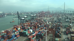Container terminal in Hong Kong - stock footage