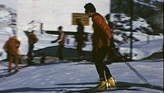 Val di Fassa, Italy, 1975: skier preparing at the top of the slope Stock Footage