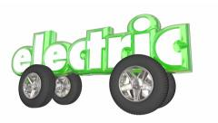 Electric Vehicle Car 3d Word Wheels Hybrid Automobile - stock footage