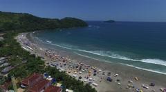 Aerial View of Baleia Beach, Sao Sebastiao, Sao Paulo, Brazil Stock Footage