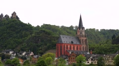 Schoenburg castle above the medieval town of Oberwesel in a famous Rhine valley. - stock footage