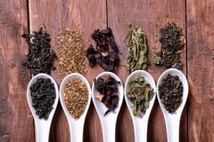Assortment of dry tea Stock Photos
