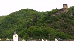 View of Gutenfels castle in a famous Rhine valley, Germany. Stock Footage