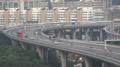 Elevated highway near the container terminal in Hong Kong Stock Footage