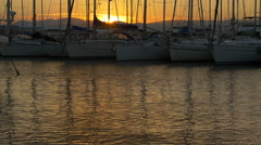 Tilt up of yachts anchored in Saint-Tropez Stock Footage