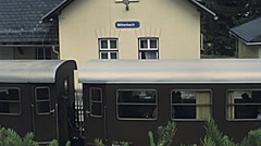 Mitterback, Austria 1978: train passing at the train station - stock footage