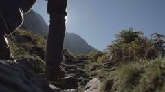 Hiker Walking In Snowdonia Wales Stock Footage