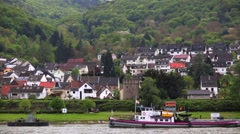 View of local villages. Rhine Valley is UNESCO World Heritage Site. Stock Footage