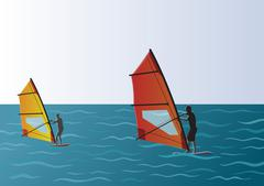 Windsurfing in the Sea Illustration - stock illustration