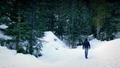 Man Walks Into Snowy Winter Woods Stock Footage