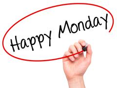 Man Hand writing Happy Monday with black marker on visual screen - stock photo
