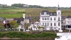 Travel by tourist motor boat, view of Ruedesheim town. Stock Footage