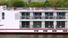 Passing by a tour boat. Rhine Valley is UNESCO World Heritage Site. Stock Footage