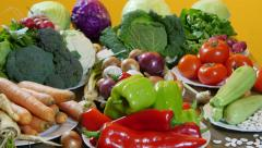 Dolly shot to camera, natural and fresh colorful vegetables, tracking Stock Footage