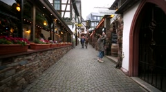 Travel through old streets in Ruedesheim at river Rhine. Stock Footage