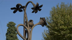 Close up of the wrought iron decorations on a fountain in Grasse Stock Footage