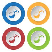 Set of four icons - flask Stock Illustration