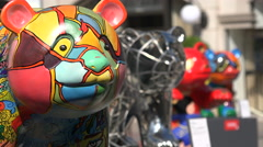 Beautiful panda statues art exhibition, social project, Chinese symbol, creative - stock footage