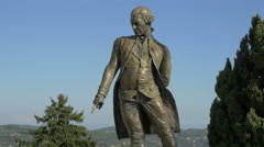 Statue of l'Amiral de Grasse in the center of Grasse town Stock Footage