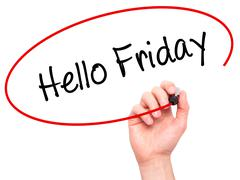 Man Hand writing Hello Friday with black marker on visual screen - stock photo