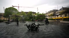 View of Tingueli fountain with moving mechanisms. Stock Footage