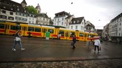 Walk along a street of Basel city. - stock footage