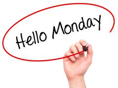 Man Hand writing Hello Monday with black marker on visual screen Stock Photos