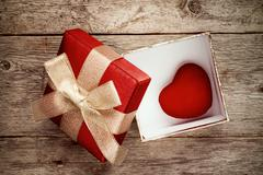 Stock Photo of Gift box with a cute little heart inside