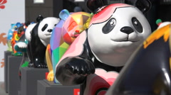 Panda bear statues, creativity, art exhibition, China, Asia, happy faces - stock footage