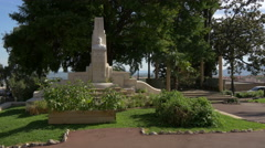 Jean Ossola monument in Jardin des Plantes, Grasse Stock Footage