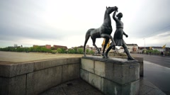 View of statue on a street of Basel city. Stock Footage