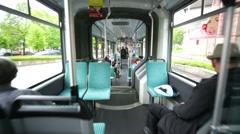 Travel inside a city tram. Stock Footage