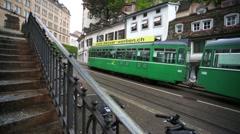 Walk along a street of Basel city. Stock Footage