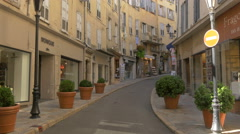 Maroquinerie Monique and other stores on Rue Amiral de Grasse, in Grasse Stock Footage