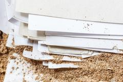 Paper eaten by termite - stock photo