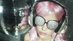 Crystal headphones music party disco babe sexy dancer sparkle Stock Footage