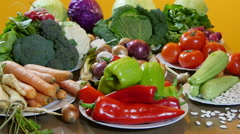 Natural and fresh colorful vegetables, dolly shot from camera, close up Stock Footage