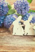 easter eggs with hyacinth - stock photo