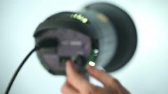 Regulated dimmer spotlight studio - stock footage