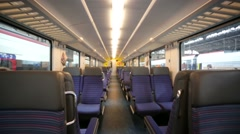 Walk inside a train at the main train station of Basel city. - stock footage
