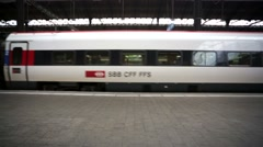 Train departs from the main train station of Basel city. - stock footage