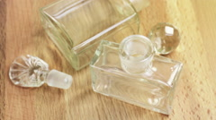 Two empty bottles of the perfume Stock Footage