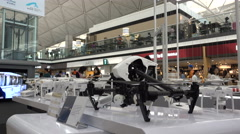 DJI drones on display at Hong Kong airport Stock Footage