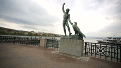 View of Ganymed statue on a waterfront of Lake Zurich. Stock Footage