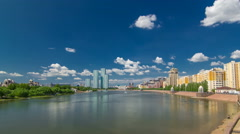 Yesil river timelapse hyperlapse with modern towers of residential complex in Stock Footage
