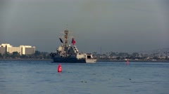USS William P. Lawrence Departs San Diego as part of the Great Green Fleet Stock Footage