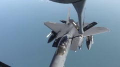 Air Refueling of F-15's and A-10's in Support of Operation Inherent Resolve Stock Footage