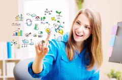 Creativity concept with young woman - stock illustration