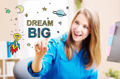 Dream Big concept with young woman Stock Illustration